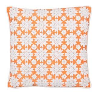 Sivaana Coral Silk and Taffeta Sowflake Throw Pillow