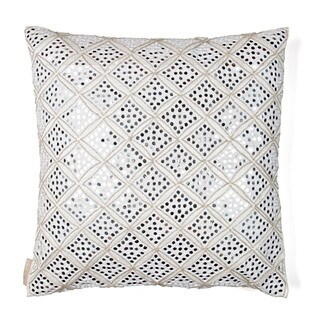 Sivaana Sheesha White and Silver Silk 20x20 Throw Pillow