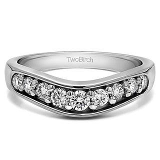 Platinum Classic Contour Wedding Ring mounted with Diamonds (G-H, SI2-I1) (0.2 Cts. twt)