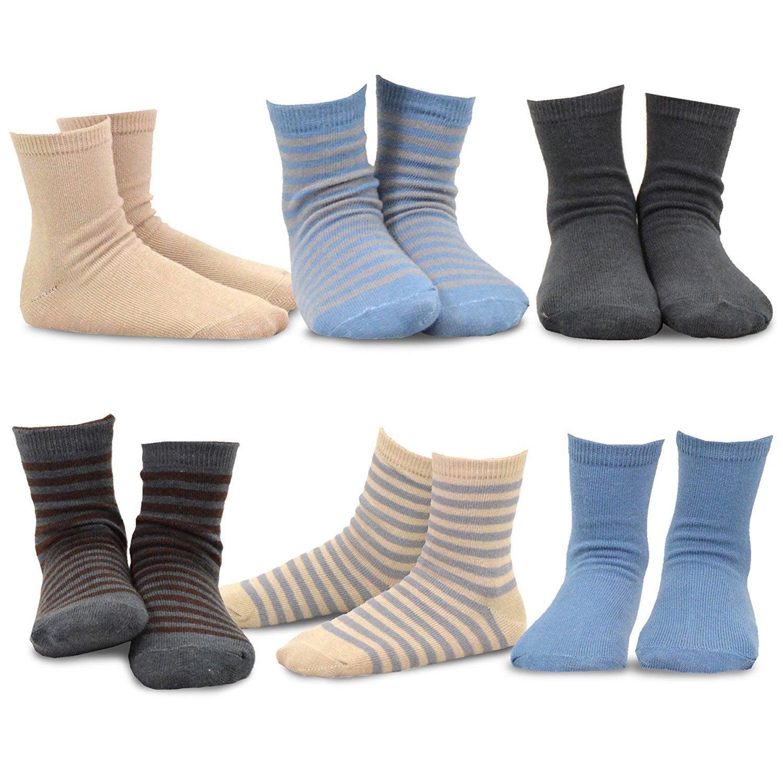 TeeHee Kids Boys Basic Crew Socks 6 Pair Pack Sports Stripe Solids Pattern
