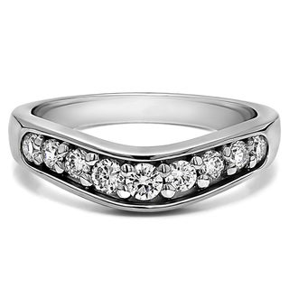 Platinum Classic Contour Wedding Ring mounted with Diamonds (G-H, SI2-I1) (0.42 Cts. twt)