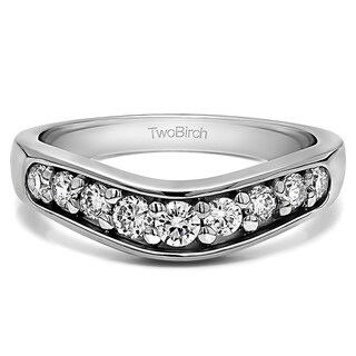 Sterling Silver Classic Contour Wedding Ring mounted with Diamonds (G-H, I2-I3) (0.2 Cts. twt)