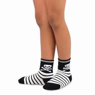 TeeHee Halloween Kids Cotton Fun Crew Socks 4-Pair Pack (Skull Stripe)