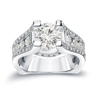 Auriya 14k Gold 3 1/4ct TDW Certified Round Cut Diamond Halo Engagement Ring (J-K, I1-I2)