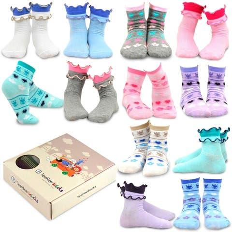 TeeHee Kids Girls Cotton Fashion Fun Crew Socks 12 Pair Ruffle & Flower Heart