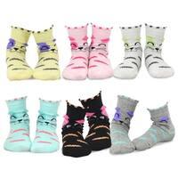 TeeHee Kids Girls Cotton Fashion Animals Face Design Socks 6 Pair Pack (Cat's Face)