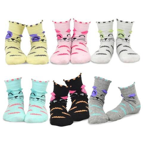 TeeHee Kids Girls Cotton Fashion Animals Face Design Socks 6 Pair Pack (Cats Face)