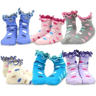 TeeHee Kids Girls Cotton Double Ruffle Crew Socks 6 Pair Pack (Dots)
