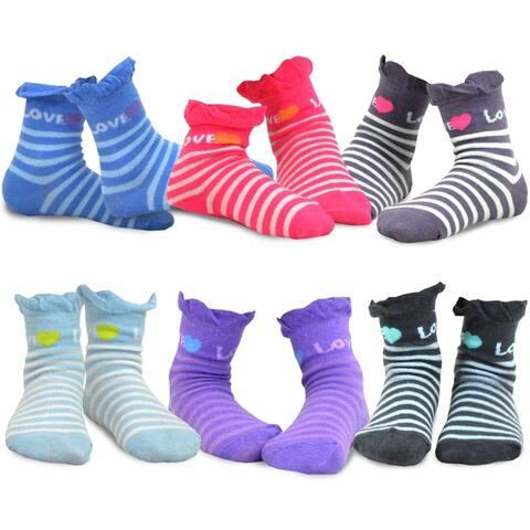 TeeHee Kids Girls Crew Ruffle Top Socks 6 Pair Love