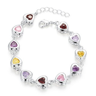 Sterling Silver Multi-Light Rainbow CZ Connecting Bracelet