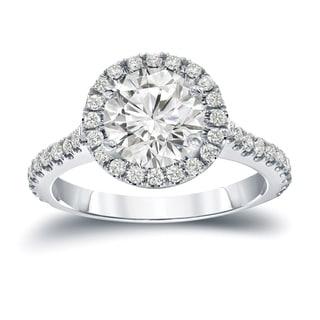 Auriya 14k Gold 2 2/5ct TDW Certified Round Cut Diamond Halo Engagement Ring (J-K, I1-I2)