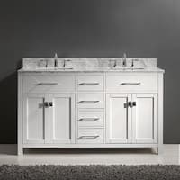 Virtu USA Caroline 60-inch Italian Carrara White Marble Square Double Bathroom Vanity Set with No Mirror