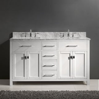 virtu usa caroline 60inch italian carrara white marble square double bathroom vanity set with