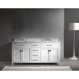 Caroline 72-inch Carrara White Marble Double Bathroom Vanity No Mirror