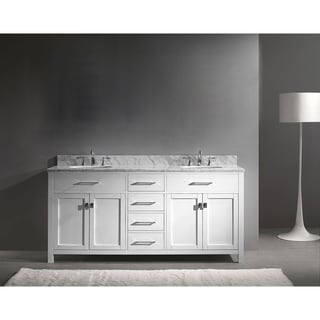 Virtu USA Caroline 72-inch Carrara White Marble Double Bathroom Vanity Set with No Mirror