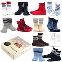 TeeHee Kids Boys Cotton Basic Crew Socks 12 Pair Pack (Bright Stripe)