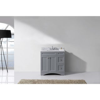 Elise 36-in Square White Marble Single Bathroom Vanity Set No Mirror