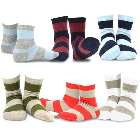 TeeHee Kids Boys Basic Stripe Cotton Crew Socks 6 Pair Pack (Rugby Stripe)