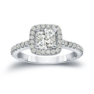 Auriya 14k Gold 1 2/5ct TDW Certified Round Cut Diamond Halo Engagement Ring (J-K, I1-I2)