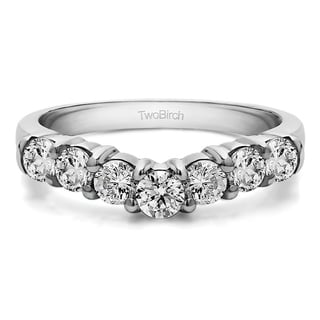 10K Gold Contour Style Anniversary Wedding Ring mounted with White Sapphire (1 Cts. twt)