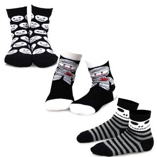 TeeHee Halloween Kids Cotton Fun Crew Socks 3-Pair Pack (Mummy Monsters)