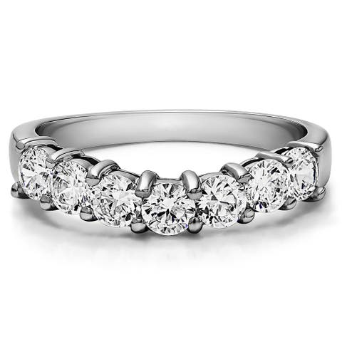 Platinum Contour Style Anniversary Wedding Ring mounted with Diamonds (G-H, SI2-I1) (0.75 Cts. twt)