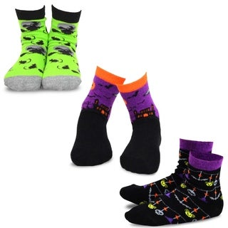 TeeHee Halloween Kids Cotton Fun Crew Socks 3-Pair Pack (Haunted House Witch Confetti)