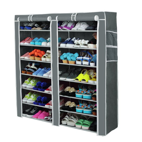 Portable Shoe Shelf Organizer 7 Layer With Cover (Grey)