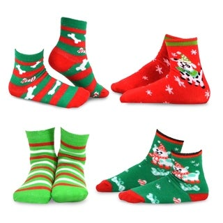 TeeHee Christmas Kids Cotton Fun Crew Socks 4-Pair Pack (Dog Cat Stripe)