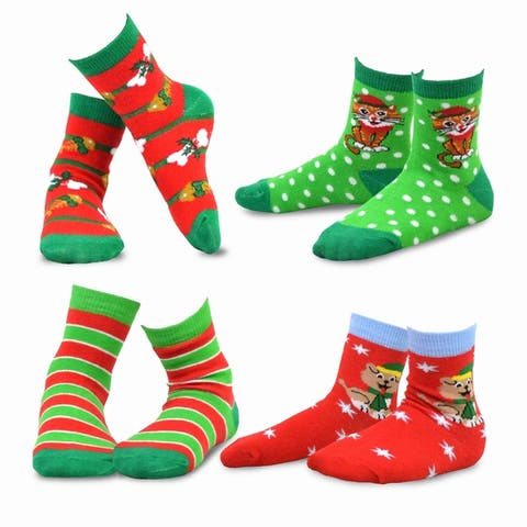 TeeHee Christmas Kids Cotton Fun Crew Socks 4-Pair Pack (Cat & Dog)
