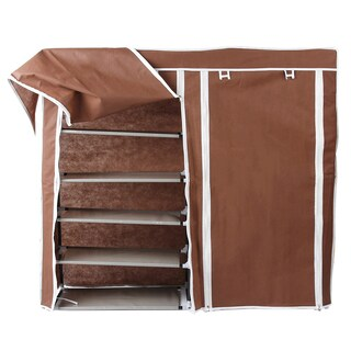 Portable Shoe Shelf Organizer 7 Layer With Cover (Brown)