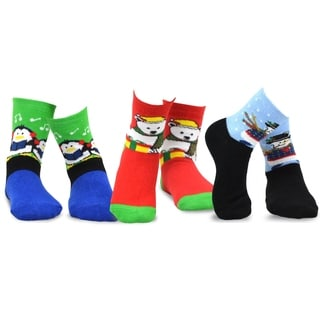 TeeHee Christmas Kids Cotton Fun Crew Socks 3-Pair Pack (Snowman Penguin Bear)