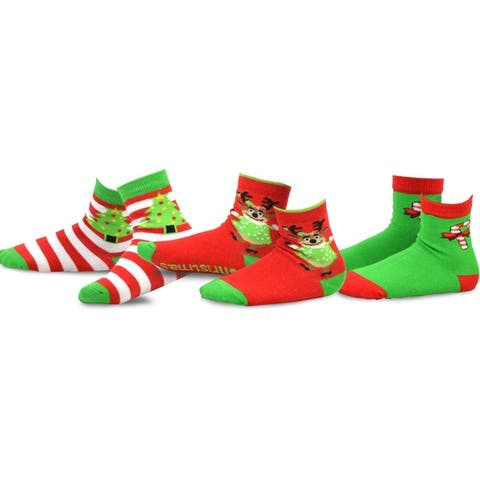 TeeHee Christmas Kids Cotton Fun Crew Socks 3-Pair Pack (Reindeer Tree and Candy Cane)