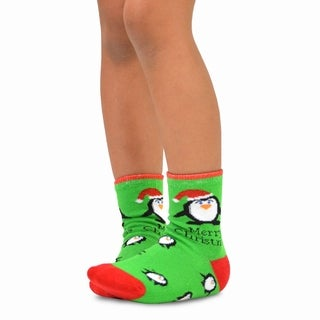 TeeHee Christmas Kids Cotton Fun Crew Socks 3-Pair Pack (All Over Penguin Stripe)
