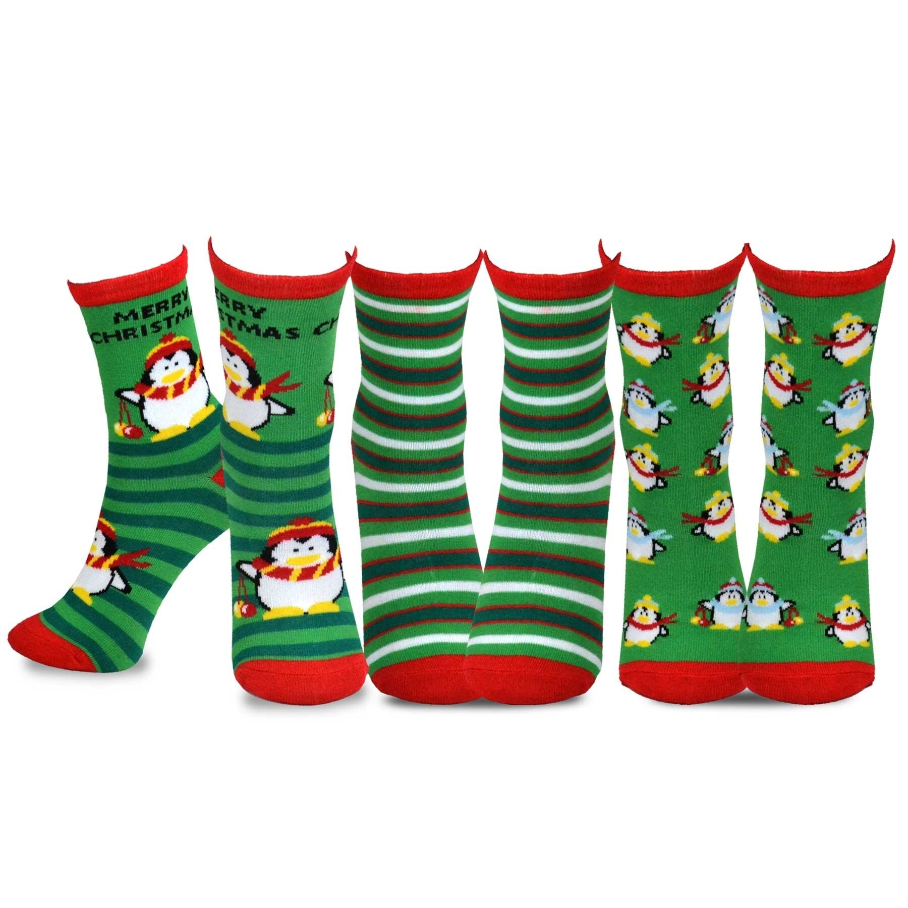 TeeHee Christmas Kids Fun Crew Socks 3-Pair Pack Santa Clause Snowman Holiday