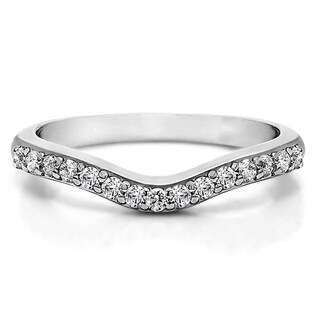 Sterling Silver Delicate Curved Wedding Ring mounted with Diamonds (G-H, I2-I3) (0.33 Cts. twt)