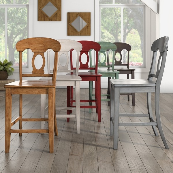 Overstock Stools And Chairs: Shop Eleanor Napoleon Back Wood Counter Chair (Set Of 2