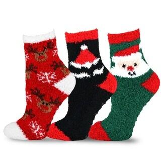 TeeHee Christmas Holiday Cozy Fuzzy Crew Socks 3-Pack for Kids (Santa)