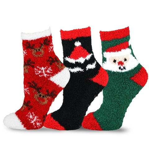 TeeHee Christmas Holiday Cozy Fuzzy Crew Socks 3-Pack Kids Santa