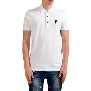 Versace Collection White Pique Medusa Polo