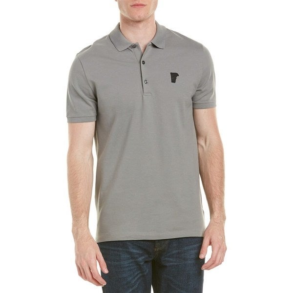 740730a32b8d Shop Versace Collection Grey Medusa Pique Polo - On Sale - Ships To ...