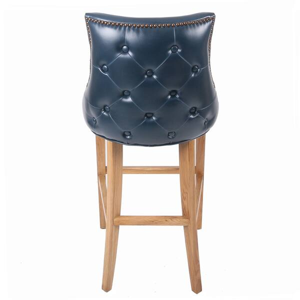 Celinda Blue Tufted Bonded Leather And Wood Bar Stool