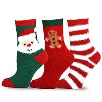 TeeHee Christmas Holiday Cozy Fuzzy Crew Socks 3-Pack for Kids (Gingerbread)
