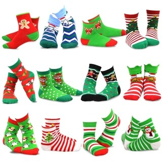 TeeHee Christmas 12-Pack Cotton Socks, Great Value Gift Box for Kids (Dog Santa and Plus)
