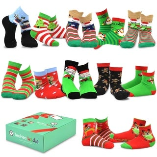 TeeHee Christmas 12-Pack Cotton Socks, Great Value Gift Box for Kids (Snowman Plus)