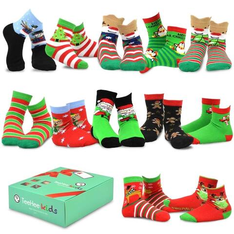 TeeHee Christmas 12-Pack Cotton Socks Kids (Snowman Plus)