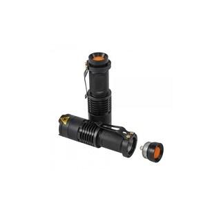 Cree Q5 Zoom LED Flashlight Torch w/ Clip