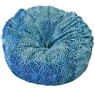 Turquoise Cheetah Faux Fur Washable Bean Bag Chair