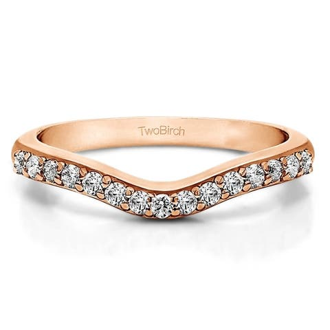 Sterling Silver Delicate Curved Wedding Ring mounted with Diamonds (G-H, I2-I3) (0.25 Cts. twt)