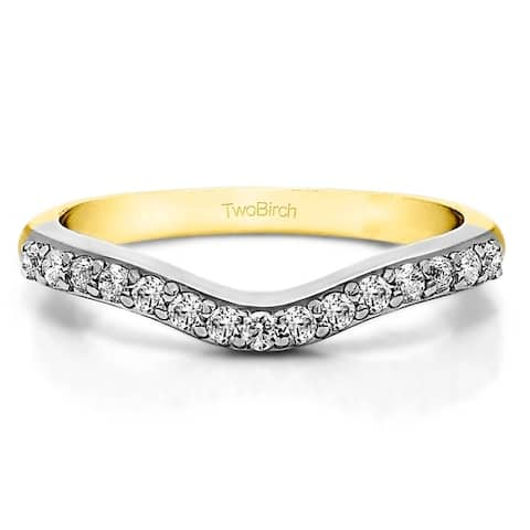 Sterling Silver Delicate Curved Wedding Ring mounted with Cubic Zirconia (0.25 Cts. twt)